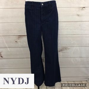 NYDJ Dark Wash Pinstripe Trouser Jeans Sz 14 Blue